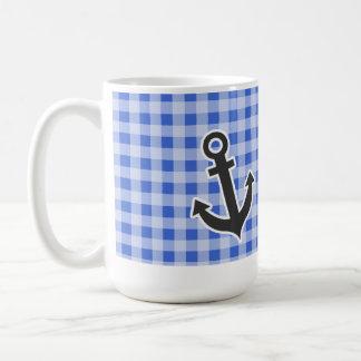 Anchor on Han Blue Gingham Classic White Coffee Mug