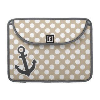 Anchor on Khaki Polka Dots Sleeve For MacBooks