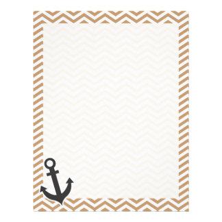 Anchor on Light Brown Chevron Stripes Custom Letterhead