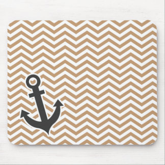 Anchor on Light Brown Chevron Stripes Mouse Pad
