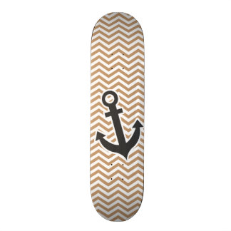 Anchor on Light Brown Chevron Stripes Skateboard Deck