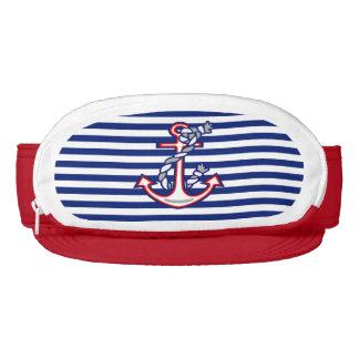 Anchor on Nautical Navy Blue Stripes Print Visor