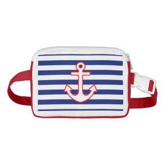 Anchor on Nautical Navy Blue Stripes Print Waist Bag