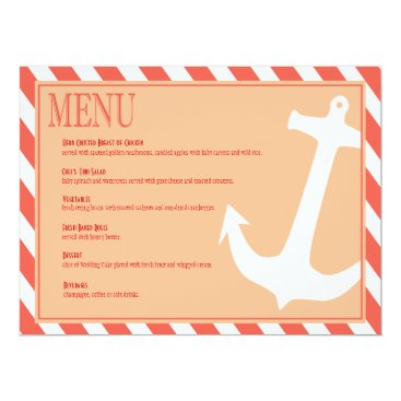 Beach Themed Anchor on Stripes | coral peach Card