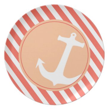 Beach Themed Anchor on Stripes | coral peach Dinner Plate