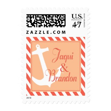 Beach Themed Anchor on Stripes | coral peach Postage
