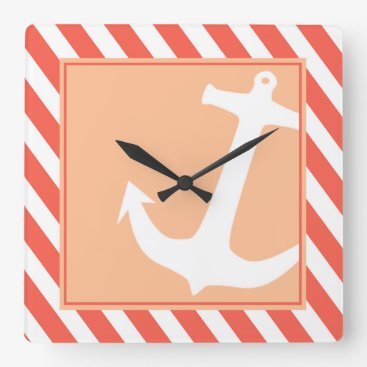 Beach Themed Anchor on Stripes | coral peach Square Wall Clock