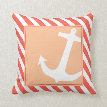 Beach Themed Anchor on Stripes | coral peach Throw Pillow