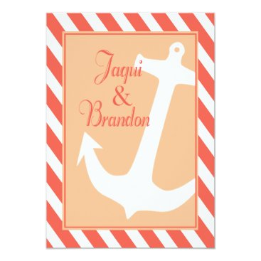 Beach Themed Anchor on Stripes | coral peach Wedding Card