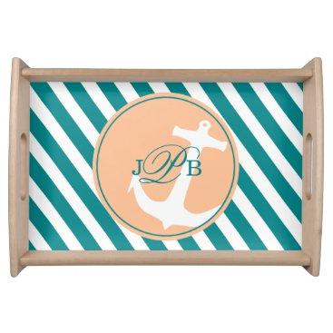 Beach Themed Anchor on Stripes Monogram | teal peach Serving Tray