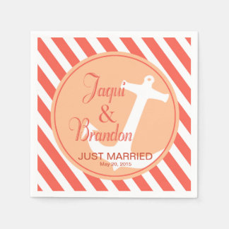 Anchor on Stripes Nautical | coral peach Paper Napkin