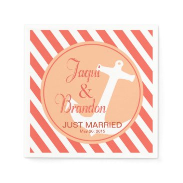 Beach Themed Anchor on Stripes Nautical | coral peach Paper Napkin