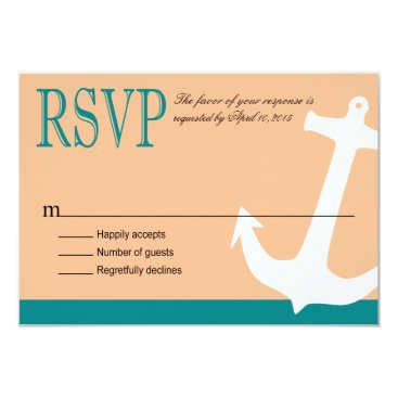 Beach Themed Anchor on Stripes Nautical RSVP | teal peach Card