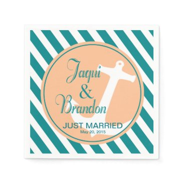Beach Themed Anchor on Stripes Nautical | teal peach Napkin