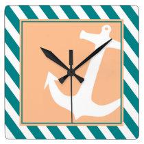 Anchor on Stripes Nautical   teal peach Square Wall Clock