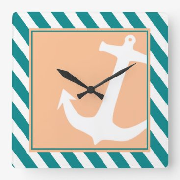 Beach Themed Anchor on Stripes Nautical | teal peach Square Wall Clock