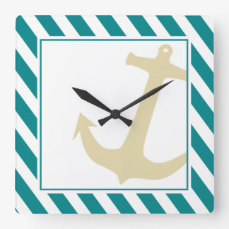 Anchor on Stripes Nautical | teal white Square Wall Clock