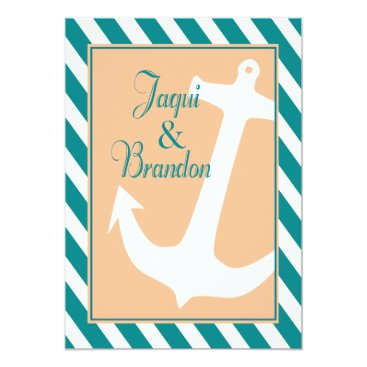 Beach Themed Anchor on Stripes Nautical Wedding | teal peach Card