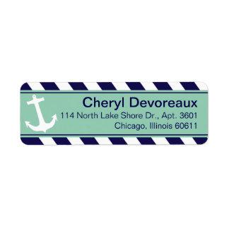 Anchor on Stripes | navy aqua Label