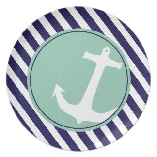 Anchor on Stripes | navy aqua Dinner Plates