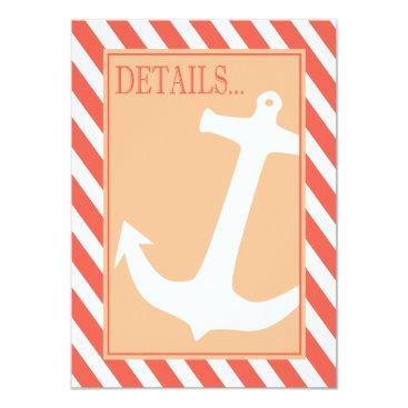 Beach Themed Anchor on Stripes - Reception Details coral peach Card