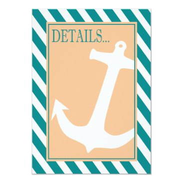 Beach Themed Anchor on Stripes - Reception Details | teal peach Card