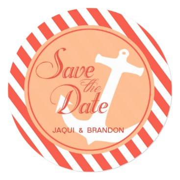 Beach Themed Anchor on Stripes Save the Date | coral peach Card