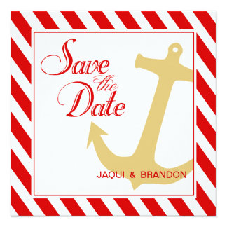 Anchor on Stripes Save the Date | red white Card