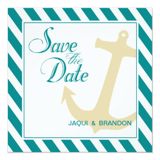 Anchor on Stripes Save the Date | teal white Card