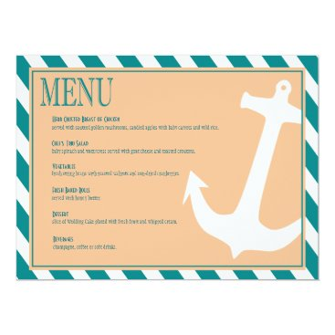 Beach Themed Anchor on Stripes | teal peach Card