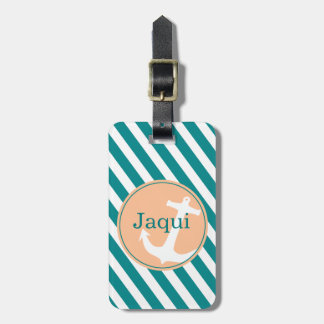 Anchor on Stripes | teal peach Tag For Bags