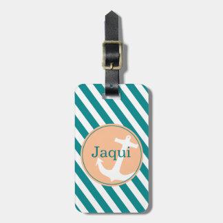 Anchor on Stripes | teal peach Luggage Tag