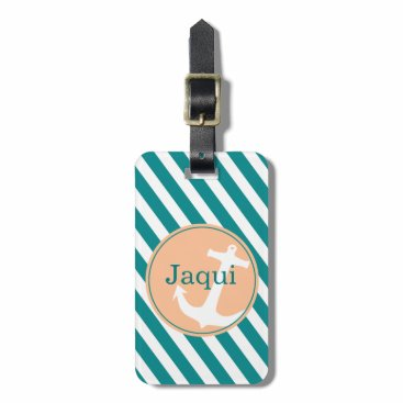 Beach Themed Anchor on Stripes | teal peach Luggage Tag