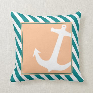 Beach Themed Anchor on Stripes | teal peach Throw Pillow