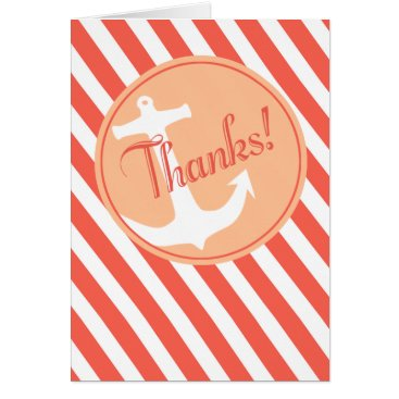 Beach Themed Anchor on Stripes Thank You | coral peach Card