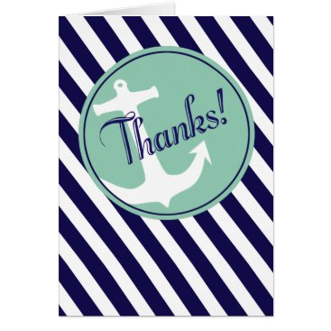 Beach Themed Anchor on Stripes Thank You | navy aqua Card