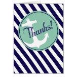 Anchor on Stripes Thank You | navy aqua Cards