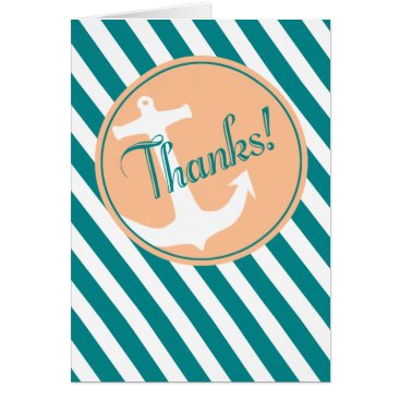 Beach Themed Anchor on Stripes Thank You | teal peach Card
