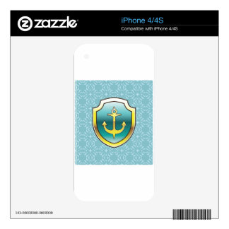 Anchor on the Shield Vector Design Skins For The iPhone 4