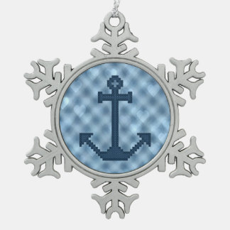 Anchor Snowflake Pewter Christmas Ornament