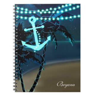 Anchor & Palm Trees Beach Lights Notebook Journal