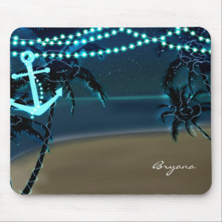 Anchor & Palm Trees Beach Lights Tropic Mouse Pad