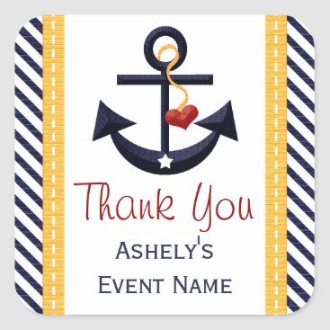 Beach Themed Anchor Party Favor Stickers Yellow