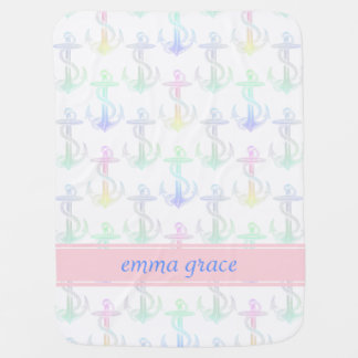 Anchor Pastel Rainbow Personalized Baby Blanket