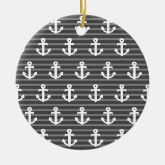 Anchor Pattern Ceramic Ornament