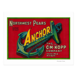Anchor Pear Crate LabelYakima, WA Postcards