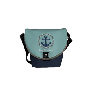 Anchor Personalized Blues Messenger Bag