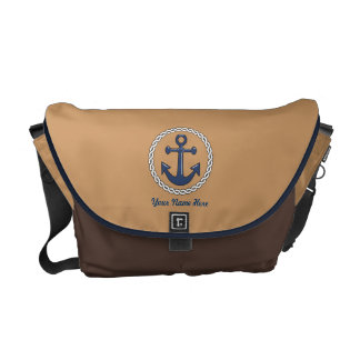 Anchor Personalized Brown Medium Messenger Bag