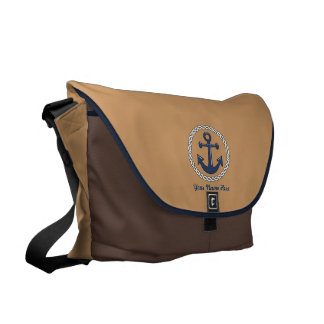 Anchor Personalized Large Brown Courier Bag