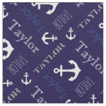 Anchor Personalized Name Blue Nautical Text Fabric at Zazzle